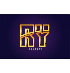 Gold golden alphabet letter ry r y logo vector