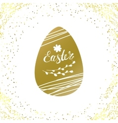 golden background with glitter and Easter vector image
