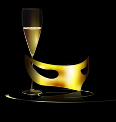 Golden mask and drink vector