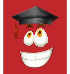 Happy face with graduation cap vector image
