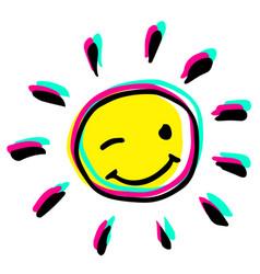 Happy winking hand drawn colorful sun vector