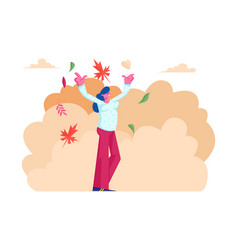 Happy woman walking in park throw up falling vector