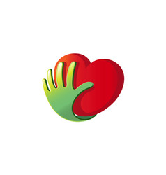 heart care hand support protection logo vector image