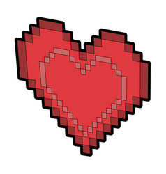 heart pixel isolated icon vector image