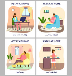 i stay at home awareness social media campaign vector image