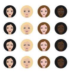 icons women faces with expressions vector image