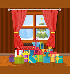 interior of room with gifts vector image