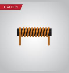 Isolated coil copper flat icon bobbin vector