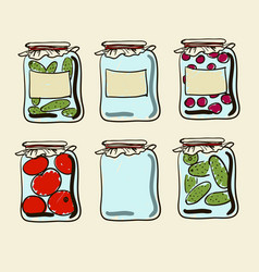 jars with preserves homemade vegetables and jam vector image