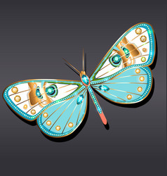 jewelry gold butterfly brooch pendant in precious vector image