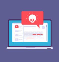 Laptop virus alert malware trojan notification on vector