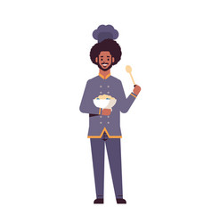 male professional chef cook holding plate with vector image