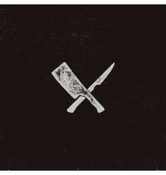 meat cleaver and knife symbols Vintage steak vector image