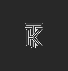 Medieval monogram tk logo combination initials t vector