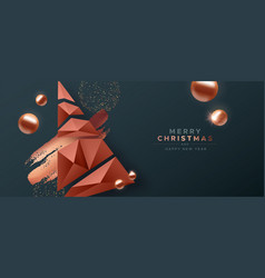 merry christmas copper low poly pine tree banner vector image