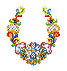 mexican decoration with ornamental flowers vector image
