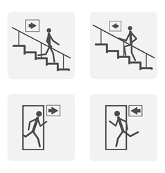 monochrome icon set with staircase door vector image