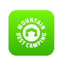 mountain best camping icon green vector image