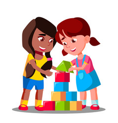 Multiracial group of kids playing together vector