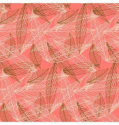 Organic pattern with leafs drawn in thin lines vector
