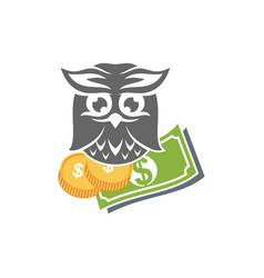Owl money logo design template isolated vector