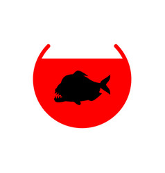 Piranha in aquarium isolated predatory fish vector