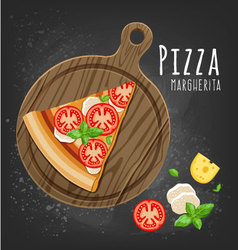 Pizza margherita slice vector image