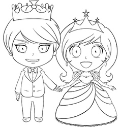 Prince and Princess Coloring Page 1 vector image