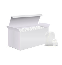Realistic detailed 3d white blank tea box and vector