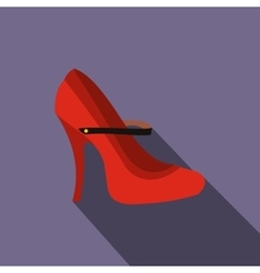 Red high heel shoes icon flat style vector image