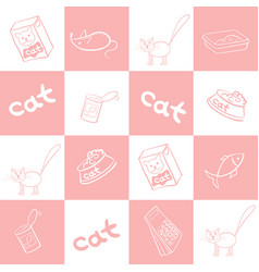 Seamless background of products for cats vector