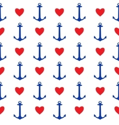 Seamless pattern with anchors and hearts vector