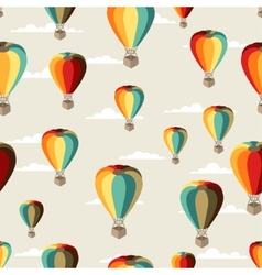 Seamless travel pattern hot air balloons vector