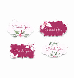set card with orchid leaves floral poster vector image