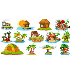 Set different bangalows and island beach theme vector