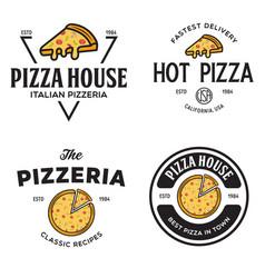 Set pizza logo badges banners emblems for vector