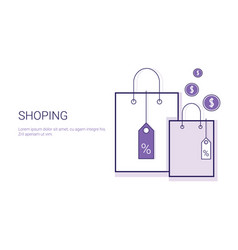 shopping bags commercial purchase business concept vector image