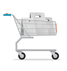 shopping cart with paper bags isolated on white vector image