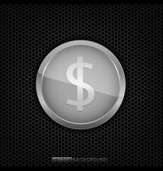 silver dollar coin vector image vector image