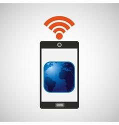smartphone map globe internet wifi icon vector image