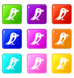 social network bird set 9 vector image