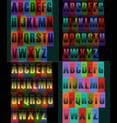 Striped artistic alphabets vector