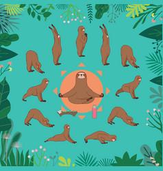 Surya namaskara sloth yoga vector