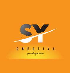 sy s y letter modern logo design with yellow vector image
