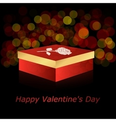 The square box with red and gold rose on a dark vector