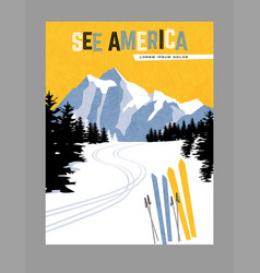 travel poster downhill skiing in mountains vector image