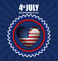 Usa independence day with heart vector