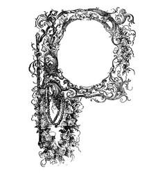 vintage antique drawing or engraving floral vector image