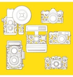 Vintage photo cameras set with floral pattern vector image