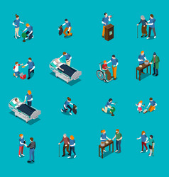 volunteer charity isometric people set vector image